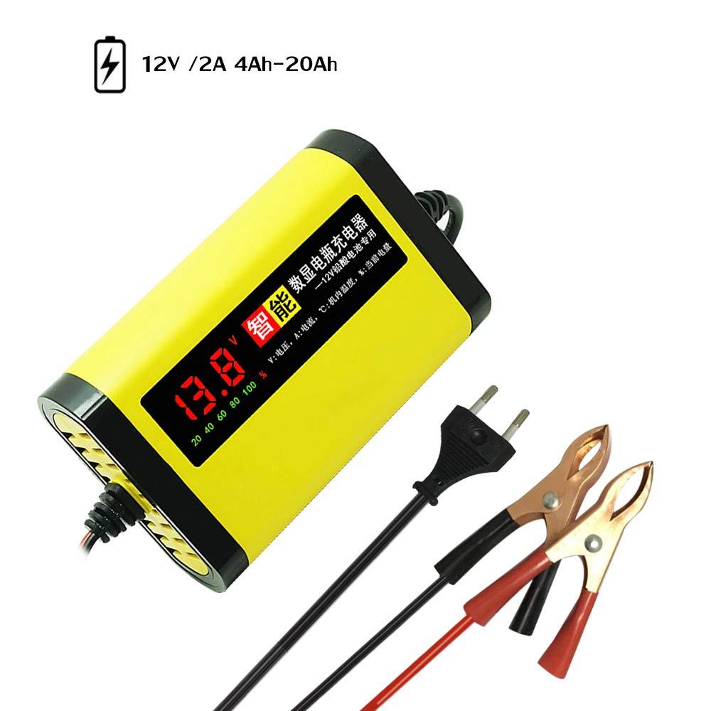 Festnight Chargeur de Batterie de Moto de Voiture 12V 2A complètement Automatique 3 stades au Plomb Acide AGM Gel Affichage Intelligent LCD