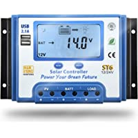 SolaMr 30A Controlador de Carga Solar 12V/24V Regulador Inteligente con Pantalla LCD y Doble Puerto USB para Batería de Panel Solar - ST6-30A
