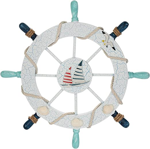 Red WINOMO Nautical Beach Wooden Boat Ship Steering Wheel Mediterranean Style Fishing Net Shell Home Wall D/écor Double-Sail