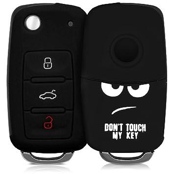 kwmobile Funda para Llave de 3 Botones para Coche VW Skoda Seat - Carcasa Protectora [Suave] de [Silicona] - Case de Mando de Auto con diseño Dont ...