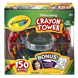 Crayola 150-Count Telescoping Crayon Tower, Storage Case, Sharpener, (52-0029)