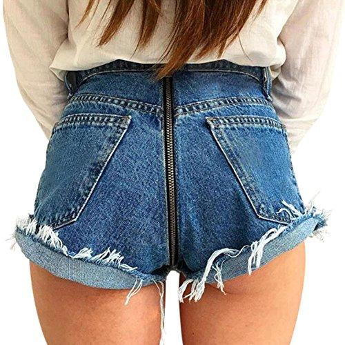 Pantaloni Jeans Vita Denim Estate Hotpant Alta Pantaloncini Strappati Ziper Da A Indietro Blu Donna Deylaying Corto 7Fapxqwv
