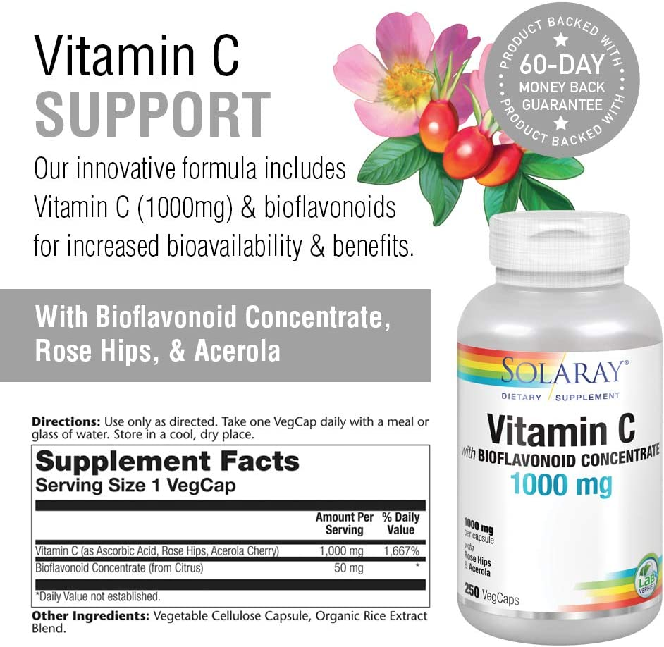 Solaray Vitamin C w/Rose Hips, Acerola & Bioflavonoids | 1000mg | Supports Immune Function & Healthier Skin, Hair, Nails | Non-GMO | Vegan | 250 CT: Health & Personal Care