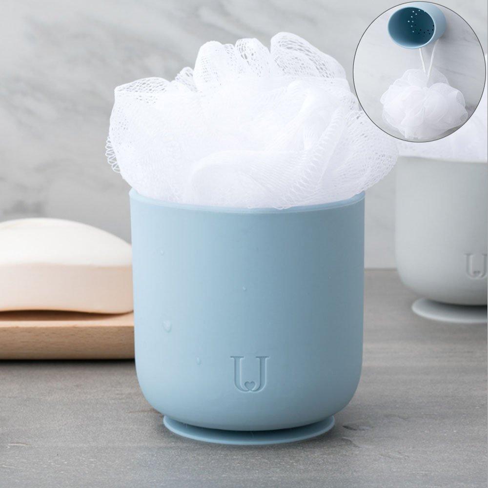 BNY Portable Bath Shower Ball Silicone Sucker Bath Ball For Daily, Business Trip, Travel (Blue)