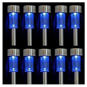iPerb® 10pcs Blue LED Outdoor Steel Garden Solar Powered Landscape Light Lamp