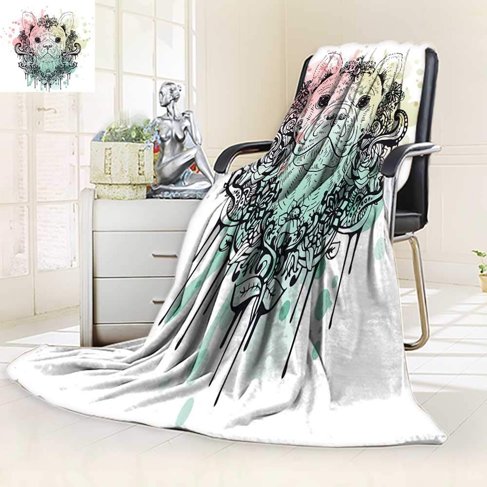 color02 59\ color02 59\ YOYI-HOME Cotton Thermal Duplex Printed Blanket,French Bulldog Graphic Dog Abstract Soft and Breathable Cotton 59 W by 47  H