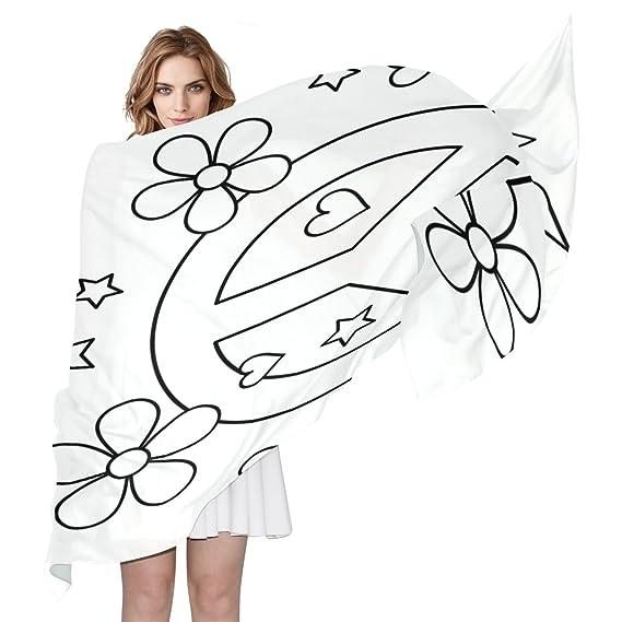 Byoulockx Womens Silk Scarf Shawl With Peace Love Tattoo Sheet