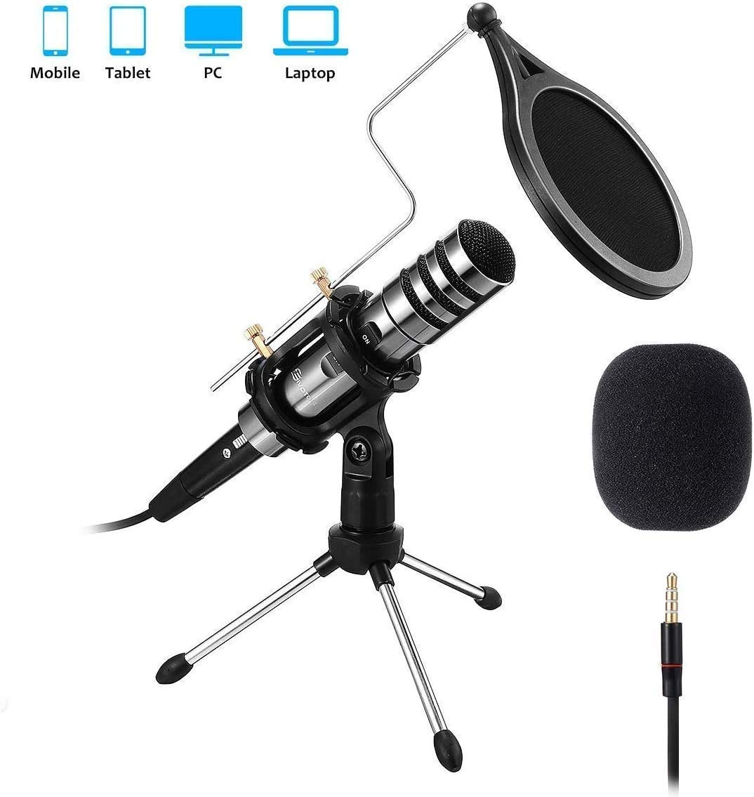 Recording Microphone, EIVOTOR 3.5mm Condenser Microphone Plug and Play, PC Microphone with Filter Suitable for Podcasting, Voice Recording, Skype, YouTube, Games, Laptop, Computer, Phone