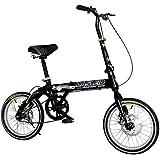 MASLEID 16 pulgadas de la bicicleta plegable, carga de 220 libras, negro