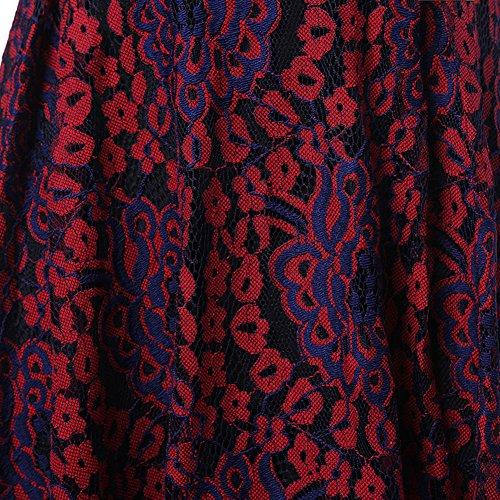 de largas Vestidos de de Knielang encaje la vestidos fiesta de de Rockabilly mangas vestido las mujeres elegante vendimia Vestidos de Vintage noche fiesta Vestidos Purple Scothen Vestido Vestido cóctel de OUqBBw