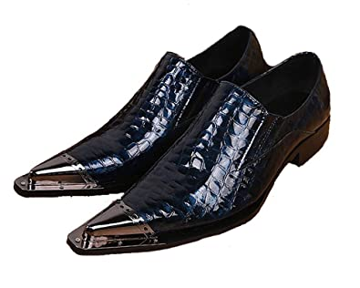 08e7d9c9a8a00 Cover Plus Size 5-12 Navy Genuine Leather Slip On Loafers Steel Pointed Toe  Mens