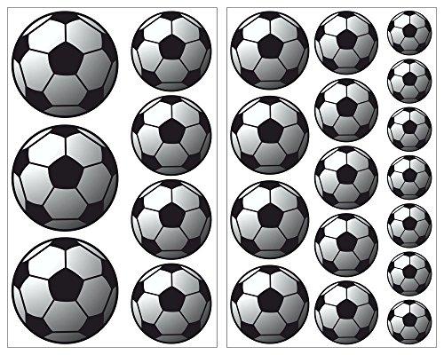 23-teiliges Fussball Wandtattoo Set Wandaufkleber Kinderzimmer Babyzimmer in 4 Größen (2x21x34cm mehrfarbig)