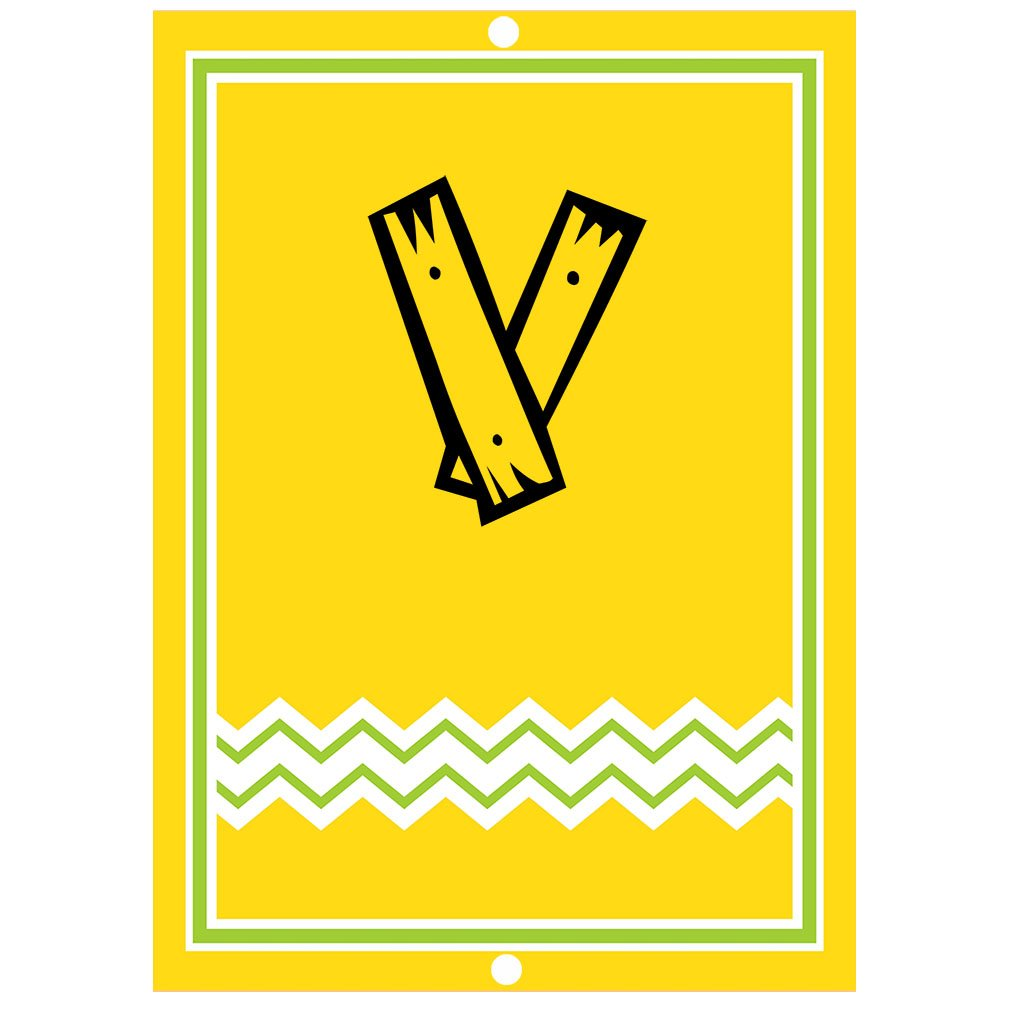 ''V '' Wood Initial Monogram Personalized Letter V Blue Room Nursery Décor METAL Sign Yellow