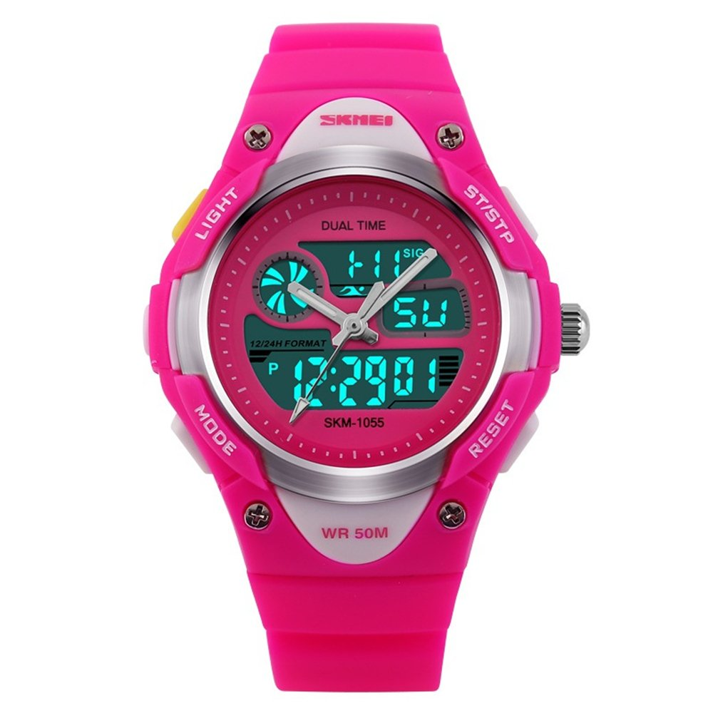 TONSHEN LED Sport Digital Waterproof Watch for Boy Girl Student and Children, Outdoor Electronic Military 12H/24H Time Dual Timezone 50M Water Resistant ...