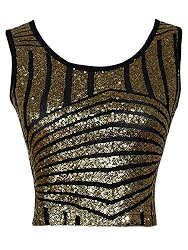 Anna-Kaci Womens Black Gold Sparkle Stripe Sequin Slim Cropped Vest Tank Tops (Gold Glitter Shirt)