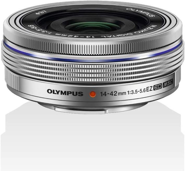 Olympus Objetivo M.Zuiko Digital 14-42 mm F3.5-5.6 EZ, Zoom estándar, Adecuado para Todas Las cámaras MFT (Modelos Olympus OM-D & Pen, Serie G de Panasonic), Plata