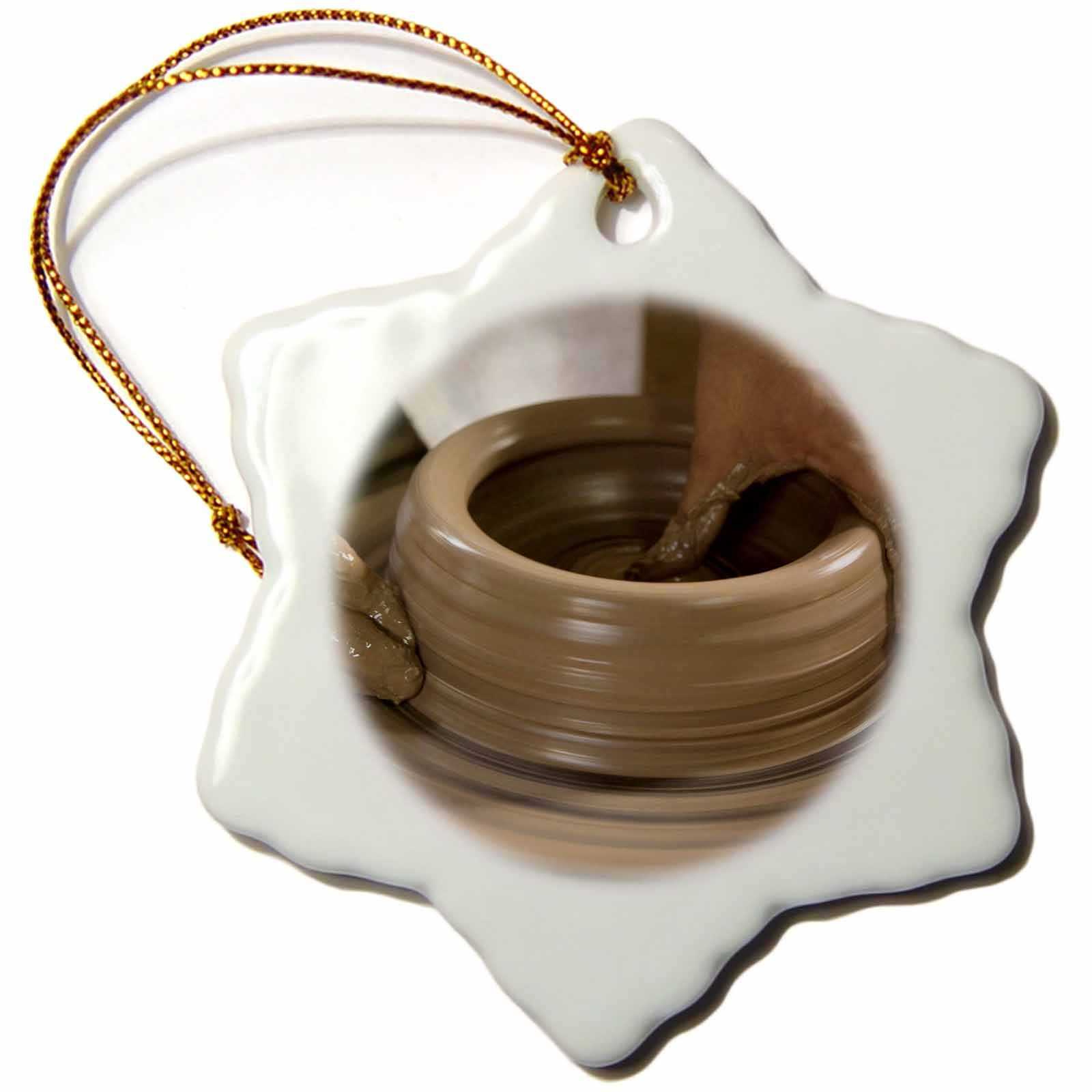 3dRose LLC orn_86881_1 Porcelain Snowflake Ornament, 3-Inch,Nicaragua, Catarina Pottery Wheel and Clay-John and Lisa Merrill