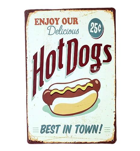 Lumanuby 1 Cartel de Pared, panadería, Restaurante o Comedor, Vintage, Decorativo de Metal con Texto Enjoy Our Delicious Hot Dogs, Best in Town, Serie ...
