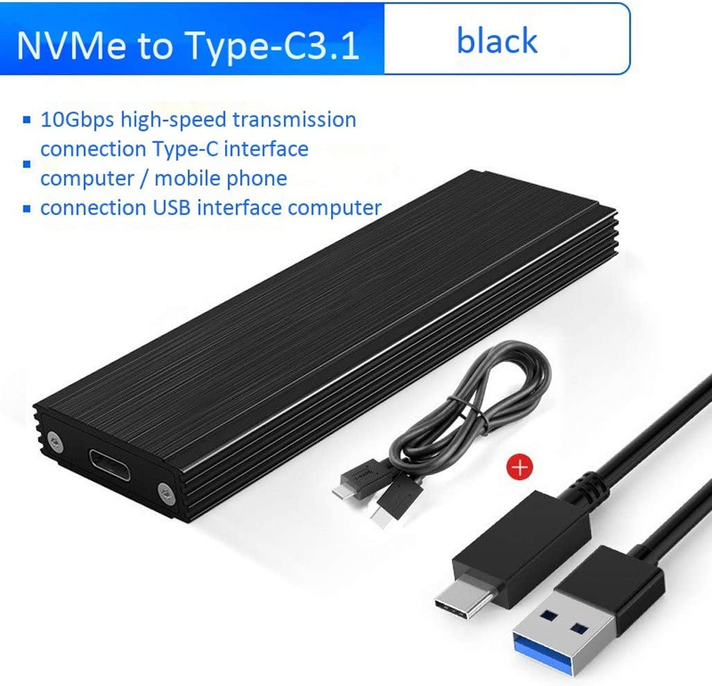 Black USB3.1 Type-C to M.2 NVME SSD Case PCIE to Type-C HDD Box USB3.1 GEN2 10gbps SSD Case NVMe M.2 SSD Enclosure PCIE Transfer Box for Windows//Mac//Linux