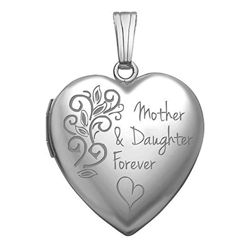 PicturesOnGold.com Sterling Silver Mother and Daughter Forever Locket - 3/4 Inch X 3/4 Inch WITH ENGRAVING