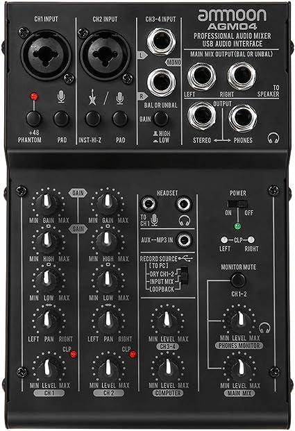 Mischpult Ammoon Dj Mixer 4 Kanal Mischpult Dj Mischpult Mini Mischpult Usb Port Intergrierter Verstärker Mikrofonsektion 48v Phantom Power Agm04 Musikinstrumente