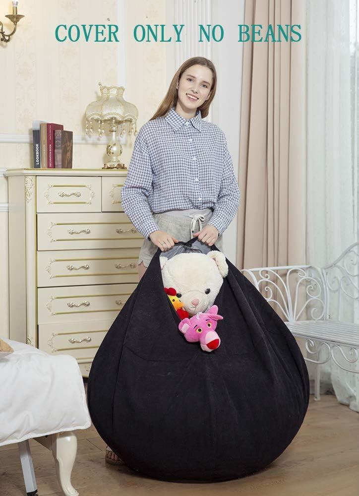 SANMADROLA Bean Bag Chair Cover Stuffed Animal Storage
