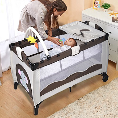 New Coffee Baby Crib Playpen Playard Pack Travel Infant Bassinet Bed Foldable (Expresso Portable Crib compare prices)