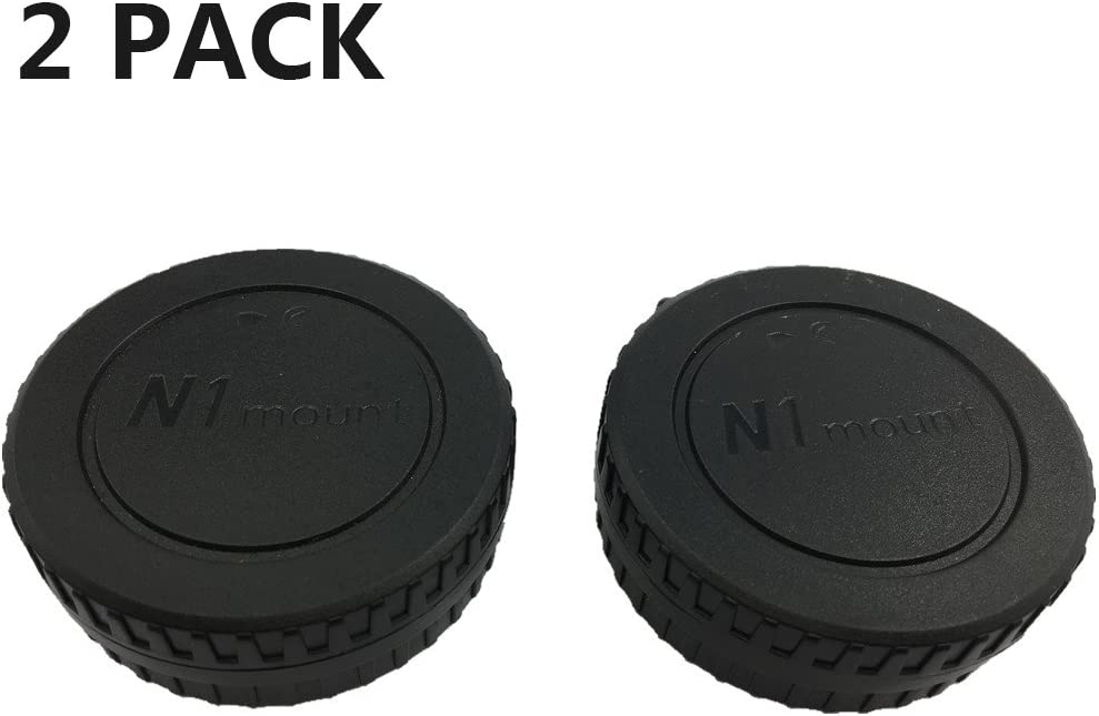 LXH 2 PACK LC-N1 Black Camera Front Body Cap and Rear Lens Cap Cover Set for Nikon N1-Mount Nikon 1 N1 Lens and Nikon 1 Mirrorless Cameras J1 J2 J3 J4 V1 V2 V3 S1 S2 AW1
