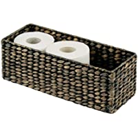mDesign Natural Woven Water Hyacinth Bathroom Toliet Roll Holder Storage Organizer Basket Bin; Use in Bathroom, Toilet Tanks - Holds 3 Rolls of Toilet Paper - Black Wash