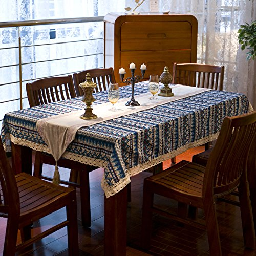 Bohemian ethnic style lace tablecloth fabric European Mediterranean garden table cloths,European pastoral cloth tablecloths,living room coffee table dining Restaurant tablecloths Blue XXX-Large(55
