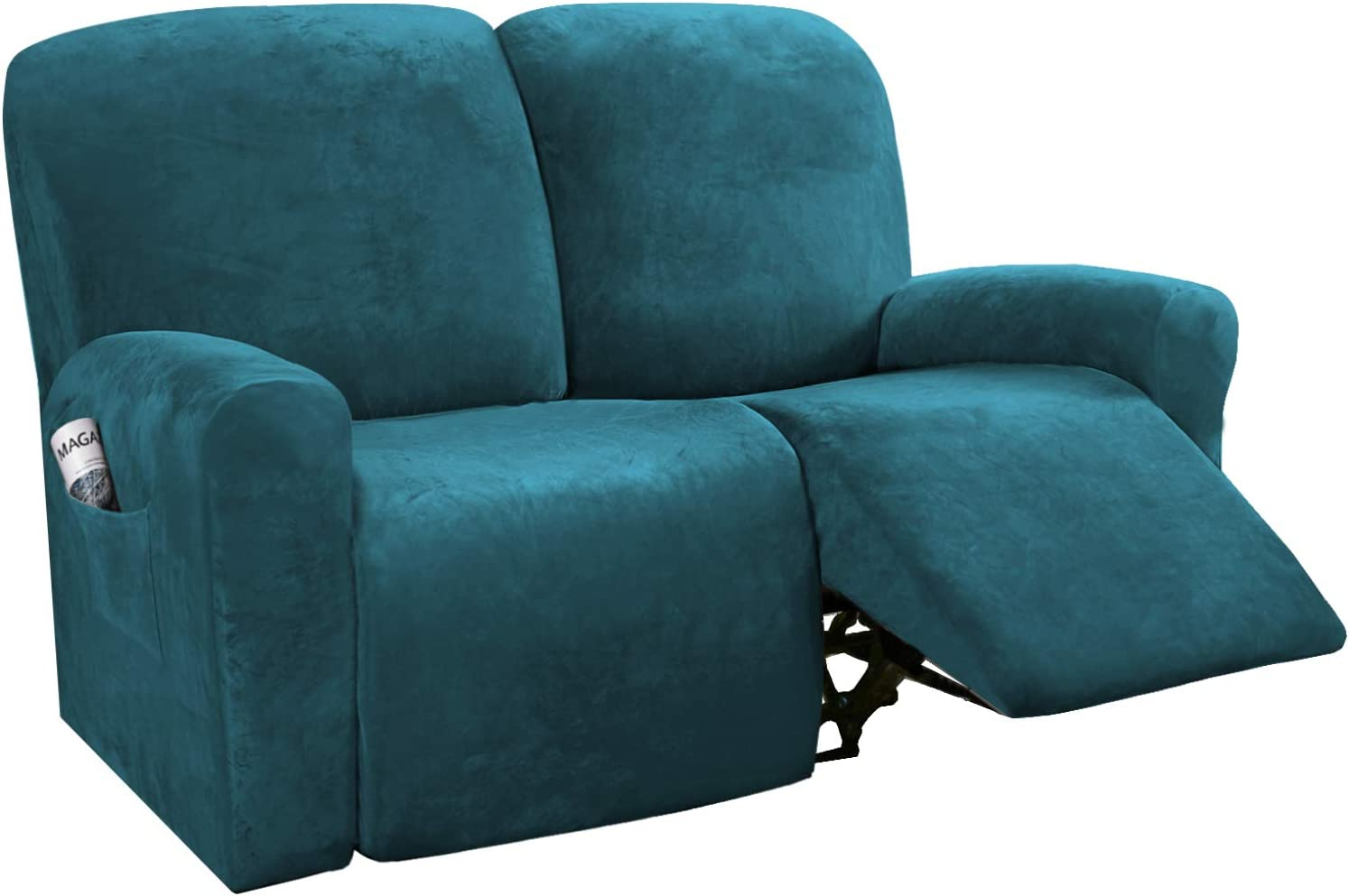 H.VERSAILTEX 6-Pieces Recliner Loveseat Covers Velvet Stretch Reclining Couch Covers for 2 Cushion Sofa Slipcovers Furniture Covers Form Fit Customized Style Thick Soft Washable(Medium, Deep Teal)