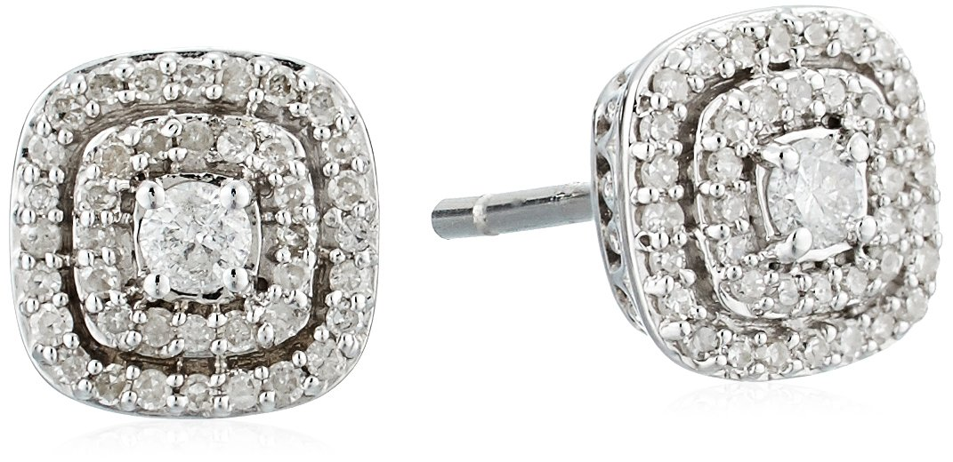 sterling silver double halo cushion diamond stud earrings (1/4 cttw, i-j color, i2-i3 clarity)