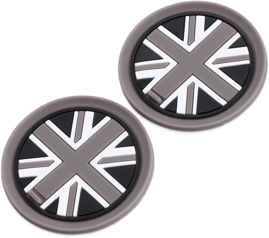 2PCS 73mm Black//White Checkered Checkerboard Pattern Anti Slip Soft Silicone Cup Holder Car Coasters Cup Mat For MINI Cooper R55 R56 R57 R58 R59 Front Cup Holders