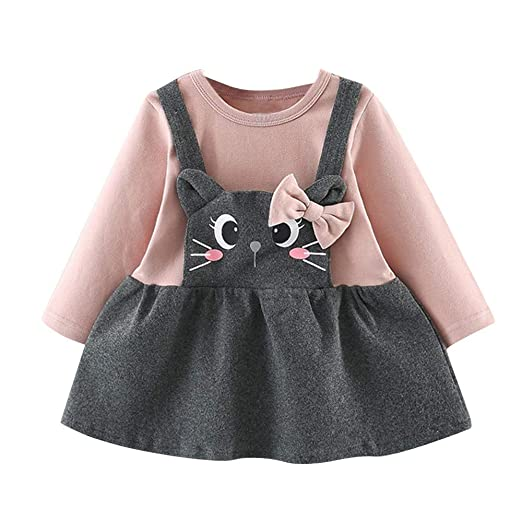 9bcc1a1c0c Amazon.com: Girls Dresses Toddler Kids Baby Shirt Long Sleeve ...