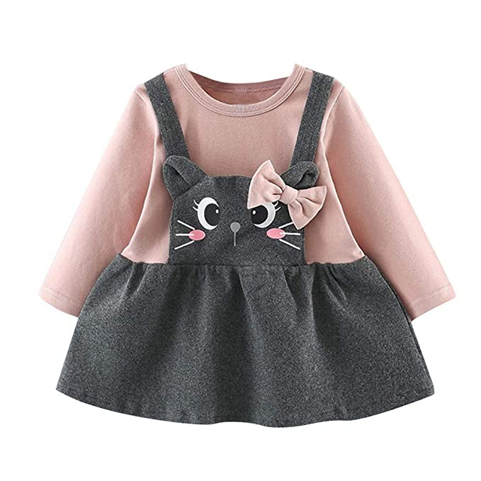 f78eeb3e95 Amazon.com  Sagton Toddler Kids Baby Girls Long Sleeve Cartoon Cat Print  Bow Patchwork Party Princess Dress  Clothing