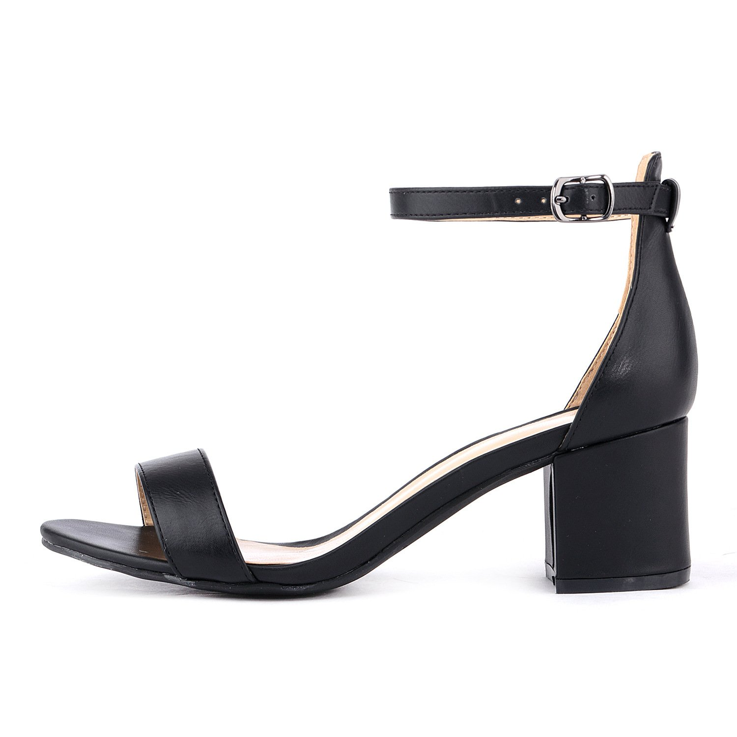 b79b7624c2b Women's Strappy Chunky Block Low Heeled Sandals 2 Inch Open Toe Ankle Strap  High Heel Dress Sandals Daily Work Party Shoes