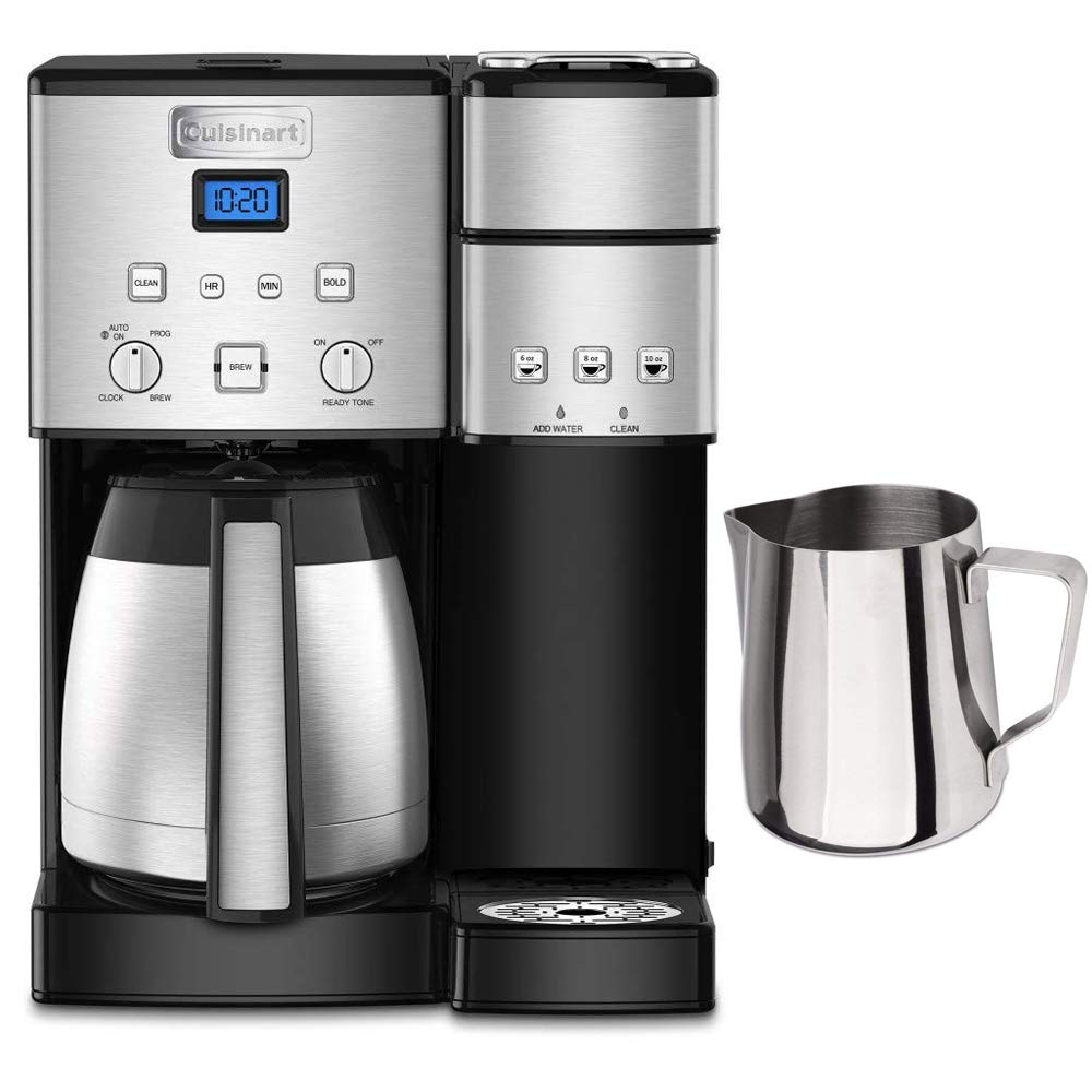 Cuisinart SS-20 Coffee Center 10-Cup Thermal Single-Serve Brewer Coffeemaker Silver (SS-20) with Deco Gear Stainless Steel Milk Frothing Pitcher 12 oz. with Measurement Markings