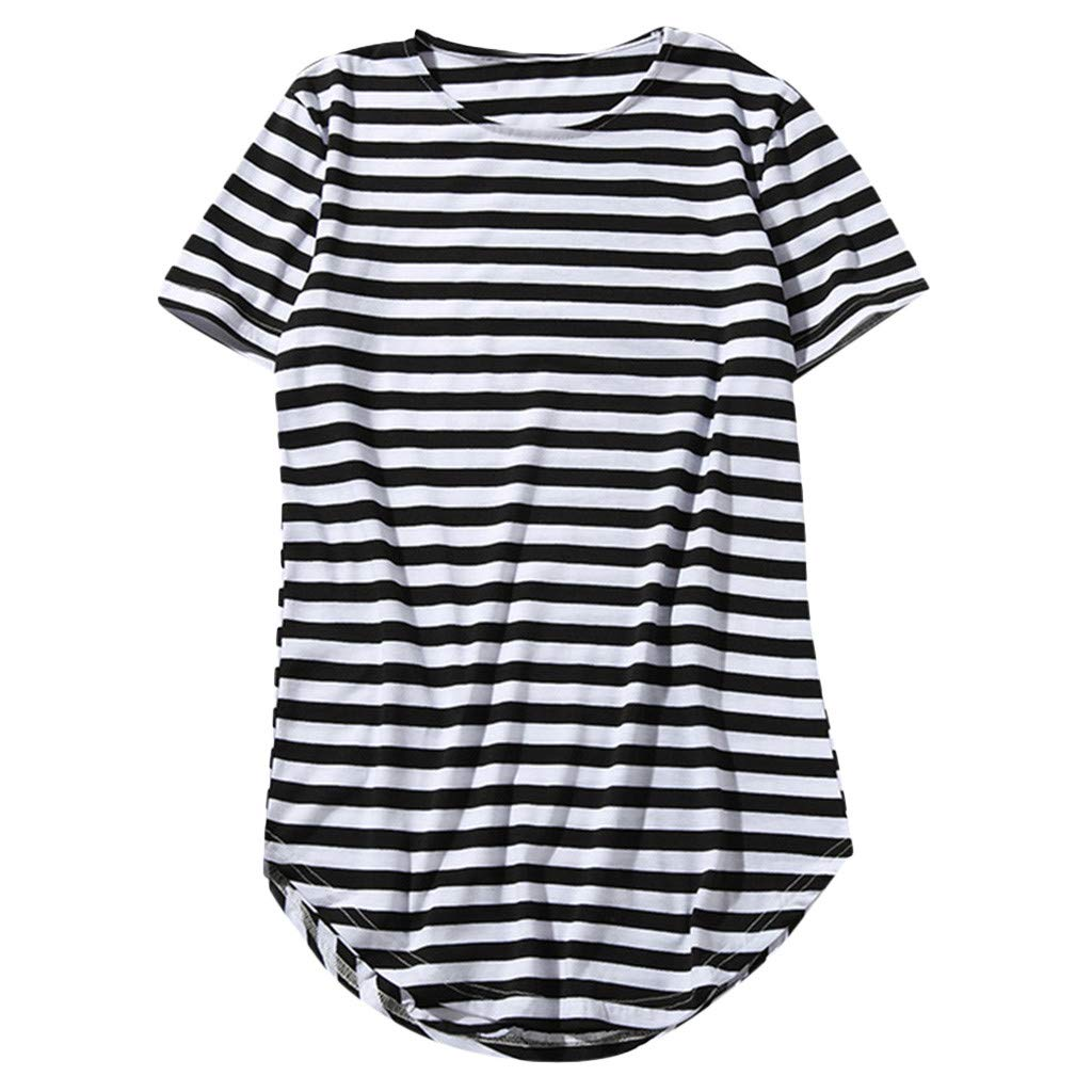 Men's Shirts Short Sleeve Hip Hop Round Hem High Street Striped T-Shirt Black