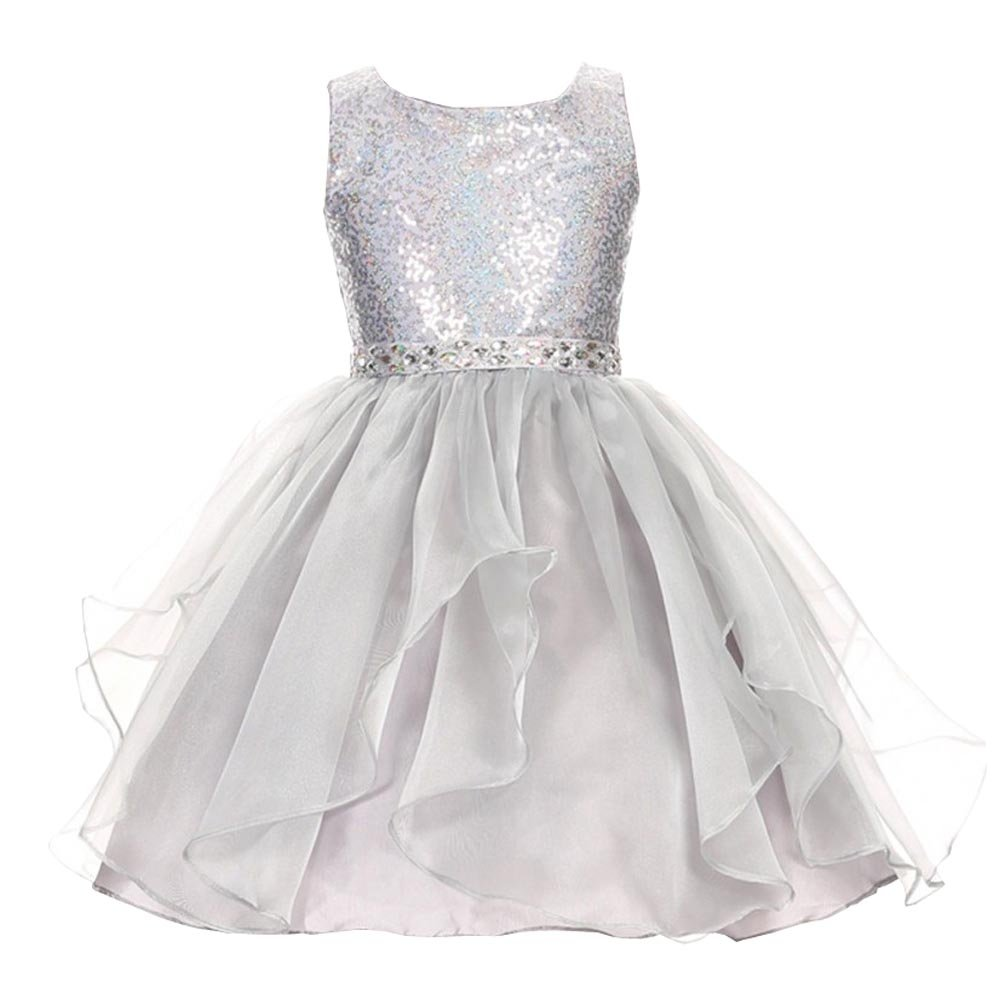 2ce51a38d Amazon.com: Bling Sequined Flower Girl Dresses For Wedding Ruffles Tiered  Crystals Jewel Girls Pageant Dress 2018: Clothing