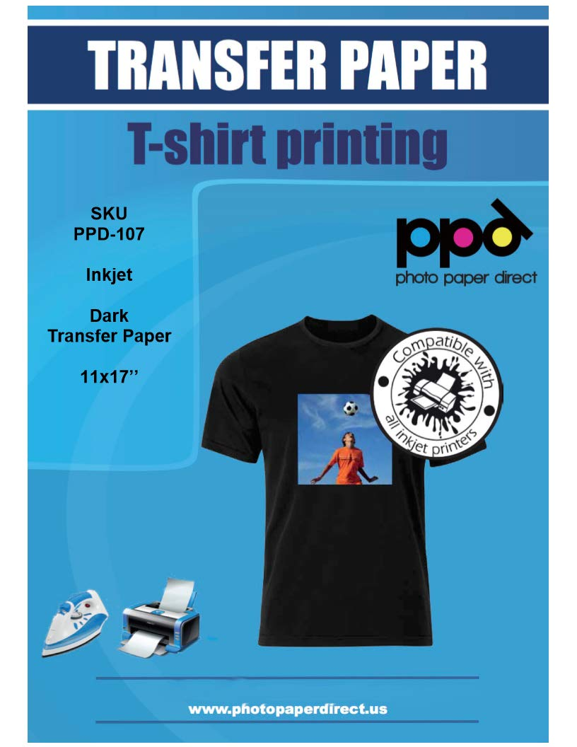 PPD Inkjet Iron-On Dark T Shirt Transfers Paper 11x17'' Pack of 20 Sheets (PPD107-20) by Photo Paper Direct