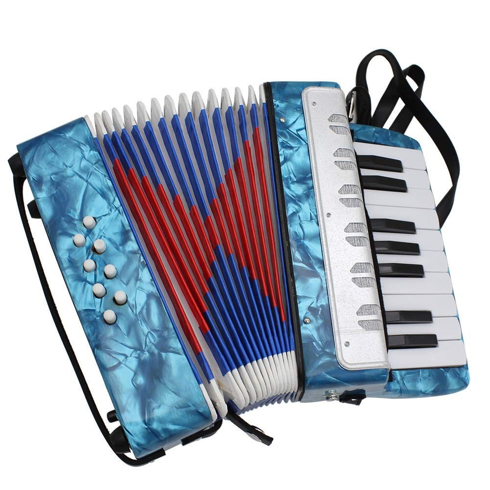Accordion, Portable Lightweight Kids Piano Accordion 17 Keys 8 Bass With Adjustable Straps Music Instruments For Beginners Students Educational Instrument Band Toys Children's Gift Musical Toy Instrum