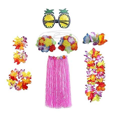 A Pezzi Stobok Hawaiano Verde Set Coste Gonna 8 Hula Costume 34jcRAL5q
