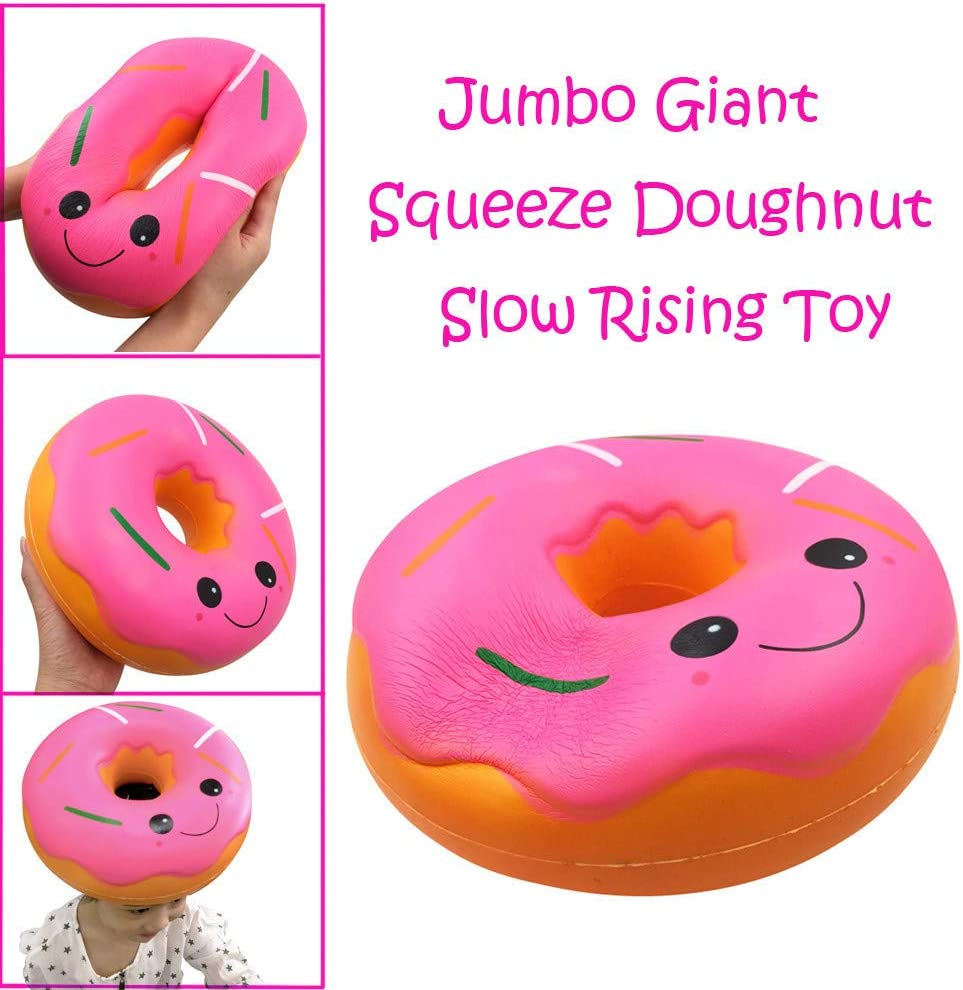 Soft Squeeze Squishy Food Toys Sensory Fidget Toy - Anti-Stress Reliever Emotion Vent Decompression Toy - Squishies Jumbo Giant Doughnut Slow Rising Fruit Scented Stress Relief Toy Easter Gifts