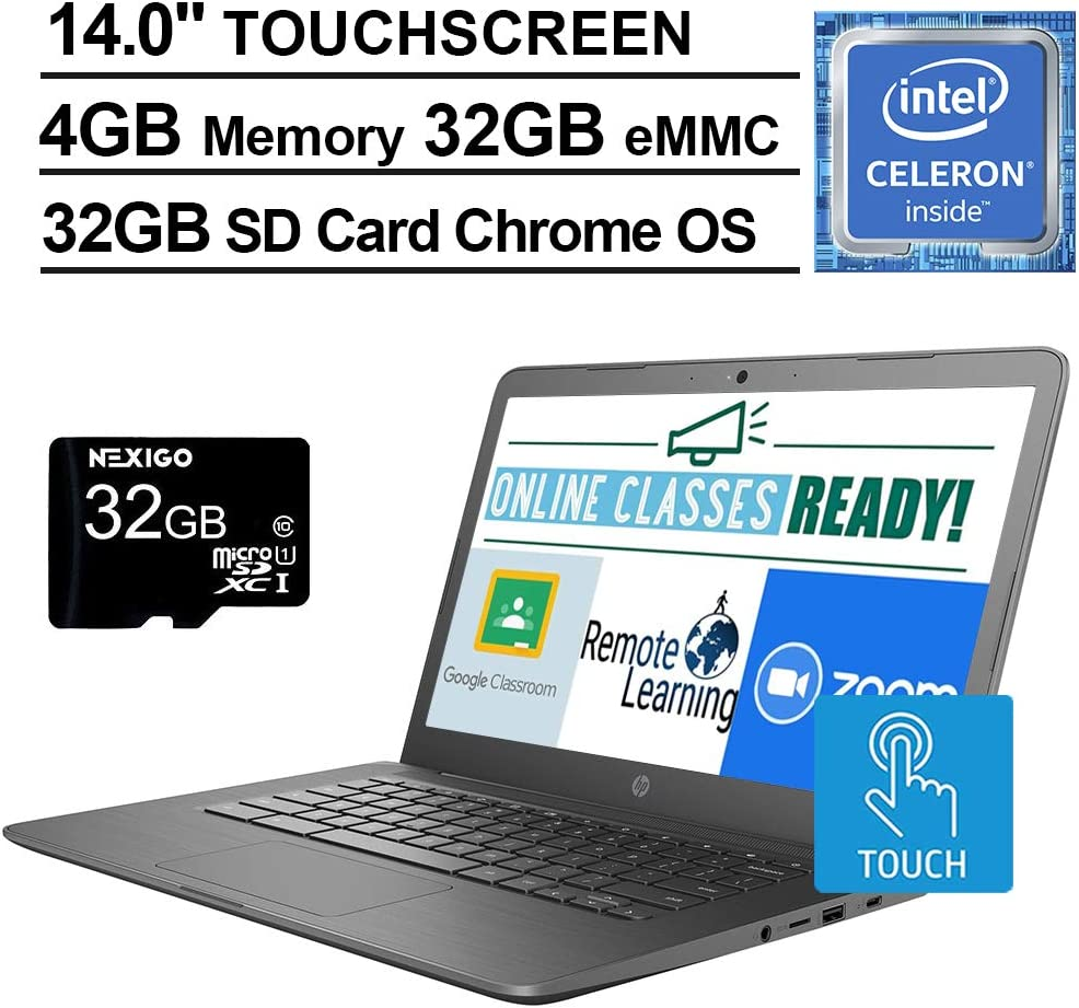 2020 Newest HP Chromebook 14 Inch Touchscreen Laptop, Intel Celeron N3350 up to 2.4 GHz, 4GB LPDDR4 RAM, 32GB eMMC, Bluetooth, Webcam, Chrome OS + NexiGo 32GB MicroSD Card Bundle