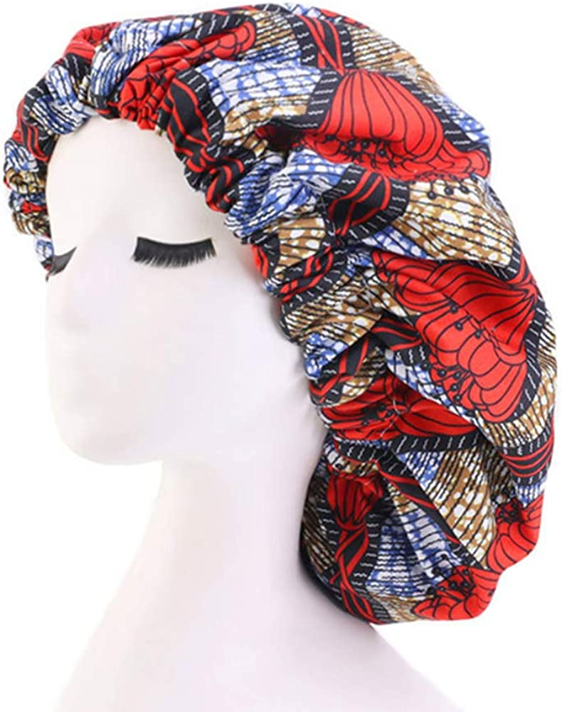 Atiluo Extra Large Women Bonnet Printed Double-Layered Chemo Caps Satin-Lined Stretch Wide-Brimmed Turban Cap