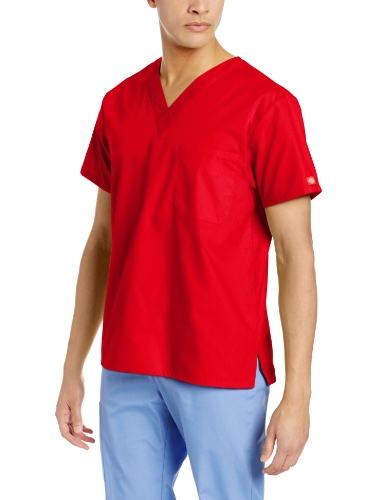 Dickies Unisex V-Neck Scrub Top, Red, Medium by Dickies
