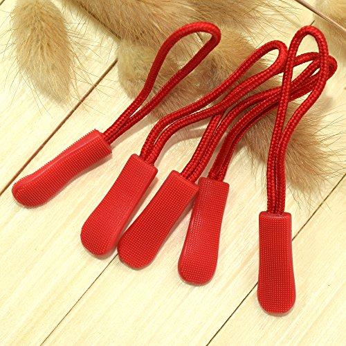 Pack of 10pcs Zipper Pulls (Red) - Zipper Red