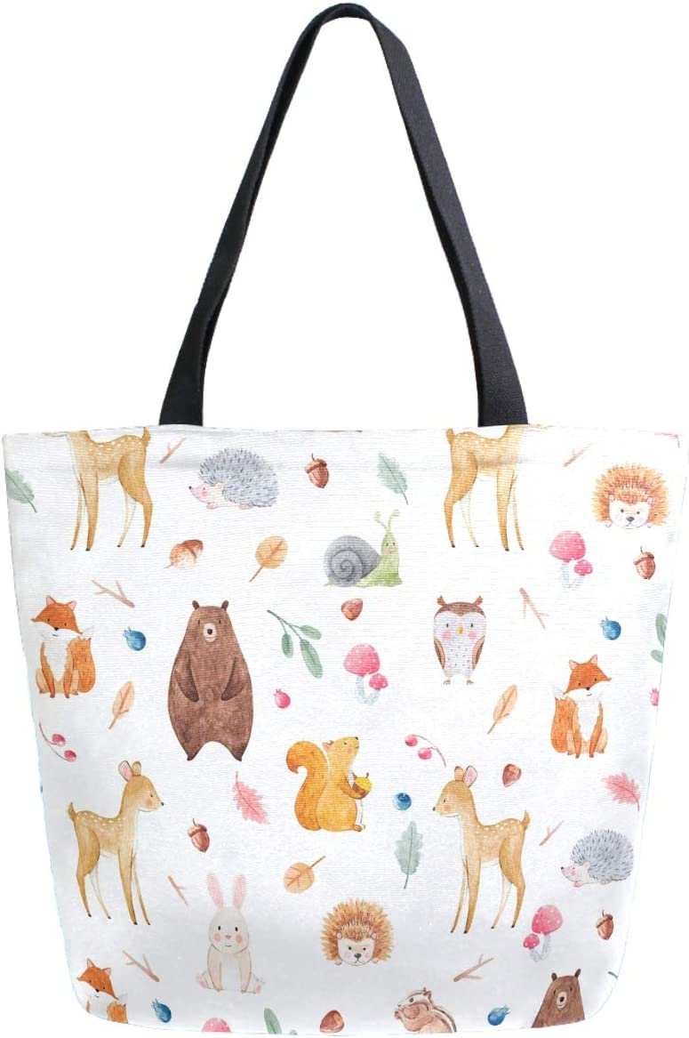 ZzWwR Cute Forests Animal Deer Squirrel Fox Bear Owl Hedgehog Extra Large Canvas Market Beach Travel Reusable Grocery Shopping Tote Bag Portable Storage HandBags