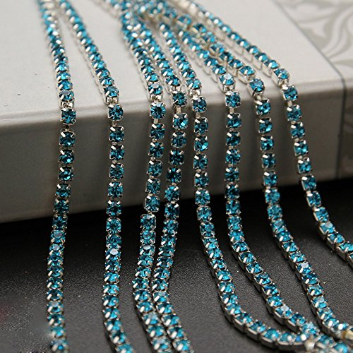 USIX 10 Yards Crystal Rhinestone Close Chain Trimming Claw Chain Multi Size Color Rhinestone Chain for DIY Arts Craft Sewing Jewelry Making, Aqua-Silver Chain, SS8/2.5MM