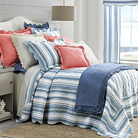 Brylanehome Florence Bedspread (Blue Stripe,Queen)